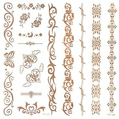 GOLD FLASH Tattoos Einmaltattoos 6 Armbänder + Rosen + Herzen 3D Tattoo WFD-1+2