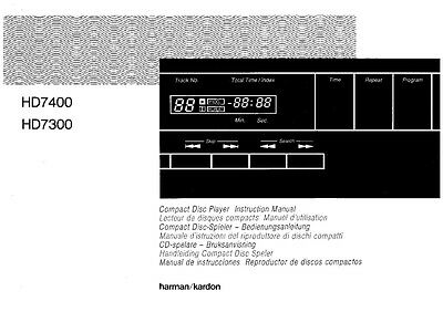 harman kardon hd 7300 cd player owners manual 18 99 picclick rh picclick com