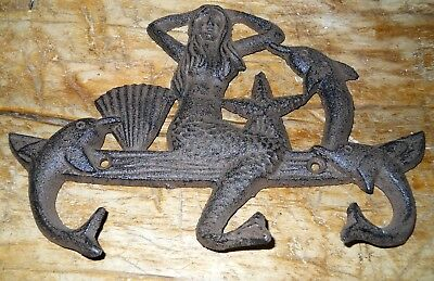 Cast Iron MERMAID Towel Hanger Coat Hooks Hat Hook, Key Rack DOLPHIN BROWN