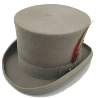 Quality Hand Made Grey 100% Wool Top Hat Wedding Event Hat 4 Sizes