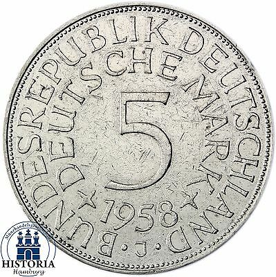Germany 5 DM 1960 mintmark G Silver Eagle in very fine Coin in coin capsule