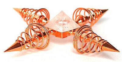 Reiki Energy Charged Four Point Copper & Clear Quartz Crystal Energy Generator
