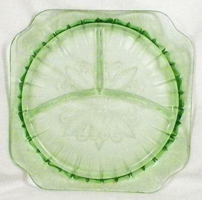 Adam Green Depression Glass Divided Grill Plate Jeannette Vintage
