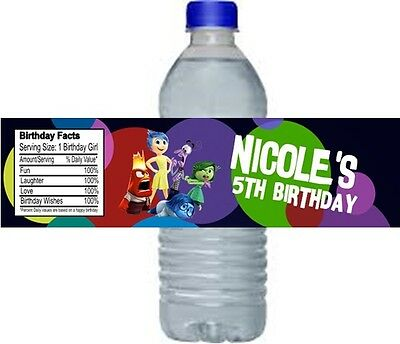 Inside Out Birthday Party Water Bottle Labels Favors Personalized