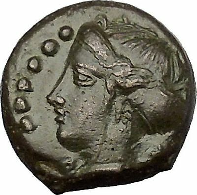 HIMERA in SICILY 415BC NYMPH & Success Wreath Genuine Ancient Greek Coin i51557