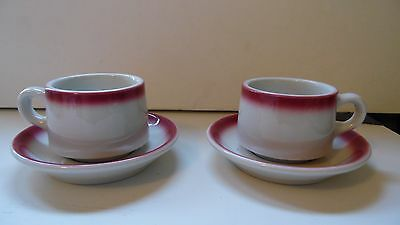 2 Shenango China USA Lawrence Ware Burgundy Trim Restaurant Ware Cup & Saucers