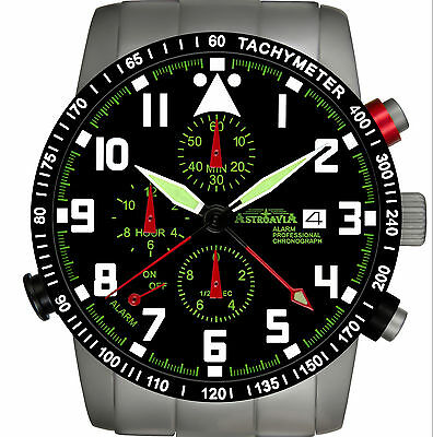 ASTROAVIA AIR CRAFT No.17E - 7 ZEIGER PROFI ALARM CHRONOGRAPH FLIEGERUHR NEU
