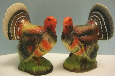 2 Beautiful Old Bisque Thanksgiving Day Turkey Salt & Pepper Shakers Japan 1950s
