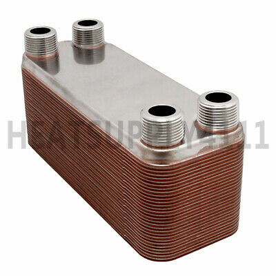 """20-Plate, 3"""" x 8"""" Brazed Plate Heat Exchanger with 3/4"""" MNPT Ports"""