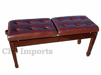 Walnut Duet Two-Seated Double Adjustable Piano Bench