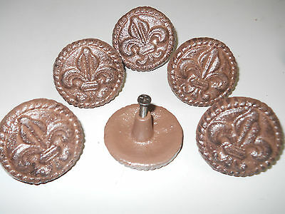 12 Cast Iron Antique Style FLEUR DE LIS Drawer Pull Barn Handle Door Knobs ROUND