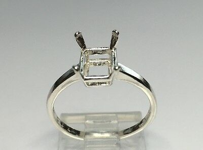 (6x4-8x6mm) Octagon Solitaire Sterling Silver RESIZED Ring Setting Size 4-9