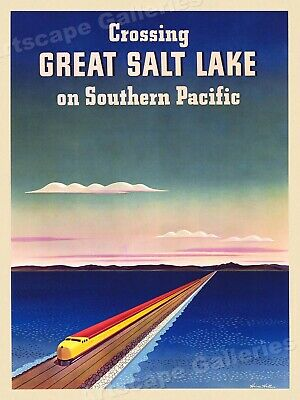 Southern Pacific Great Salt Lake 1940s Vintage Style Railroad Poster - 18x24
