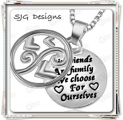 GIRLFRIENDS ARE FAMILY YOU CHOOSE FOR YOURSELF with hollow out overlay Pendant-