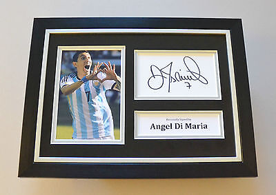Angel Di Maria Signed A4 Photo Framed Genuine Argentina Autograph Display + COA