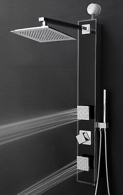 """35"""" Black Shower Panel Tower Rainfall Style System Easy Connect Massage w/ Wand"""