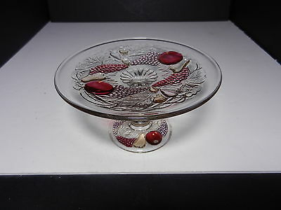 """Westmoreland Della Robbia Mint Compote Ruby Stain 6 1/4"""" D ca 1928-1940"""