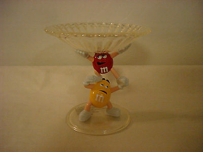 M&m's Clear Plastic Pedestal Candy Dish Red And Yellow M&m Characters