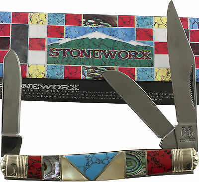 Rough Rider Stoneworx Stockman Pocket Knife RR913 Turquoise MOP 3 Blades