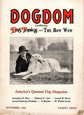 Vintage Dogdom Magazine September 1931 Borzoi Cover