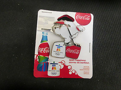 Vancover 2010 Canada Hockey Skating Polar Bear From Coca-Cola In Pack Pin