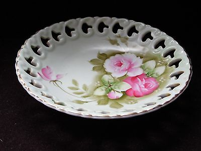 """Lefton China 2274 Green Heritage Pink Roses Candy Bowl  Pierced Edge 7 1/4"""" D"""