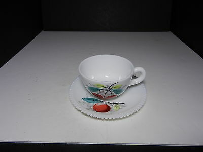 Westmoreland Beaded Edge Cup & Saucer Set Apple  ca 1953-1985