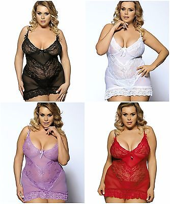 Plus Size Women's Lace Semi Stretch Babydoll Set G-string Black White Red s-7xl