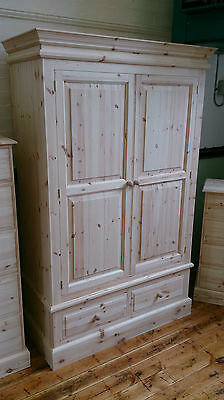 Edwardian Pine 2 Drawer Double Wardrobe - Any Finish/Colour