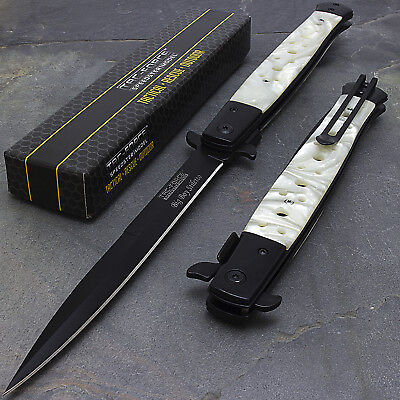 "12.5"" Tac Force Pearl Spring Assisted Stiletto Folding Tactical Pocket Knife"