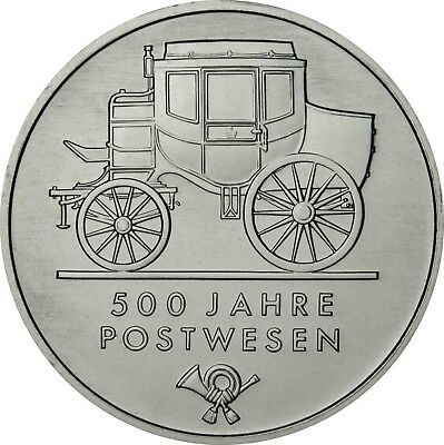 GDR 5 Mark 1990 postal services Brilliant Uncirculated Coin in capsule