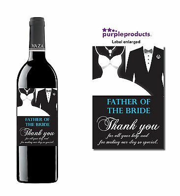 Father Of The Bride Wedding Day Thank You Wine Bottle Label Gift