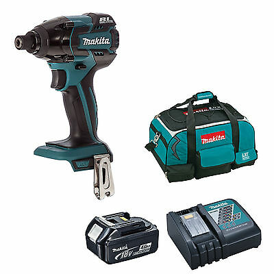 Makita 18V Dtd129 Impact Driver Bl1840 Battery Dc18Rc Charger 4 Piece Bag