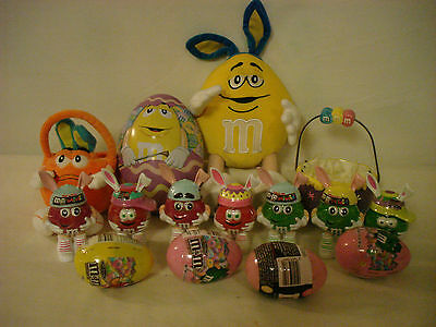 """M&m's Easter Collectibles 10"""" Yellow M&m W/ Bunny Ears Orange M&m Easter Basket"""
