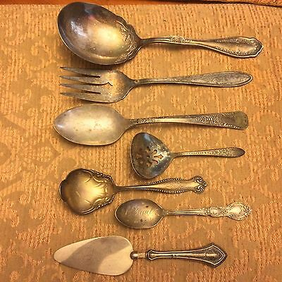 Lot Of 7 Antique Vtg Silver Spoons Forks Vintage Large St Paul Minn Silverplate