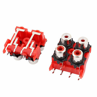 2pcs 4 Position Panel Mount Stereo Audio Video Socket RCA Female Connector