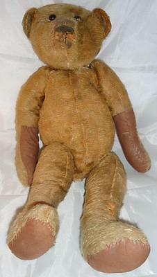 """Vtg German Teddy Bear Large 17"""" Hump Back Mohair Center Seam Jointed MUST SEE"""