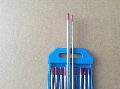 """10 PCS of 3/32"""" & 1/8"""" * 7"""",RED WT20, 2% Thoriated Tungsten TIG Electrodes"""