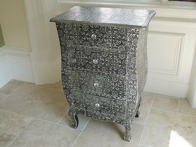 Blackened Silver Embossed, Chic French Chest of Drawers With 4 Draws (3080)