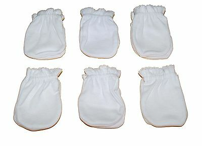 6 Pairs Cotton Newborn Baby/infant anti-scratch Mittens Gloves - White