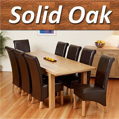 100% Solid Oak Dining Table Set Extending with 6 8 Chairs 150cm 185cm 220cm