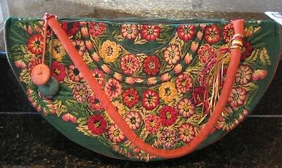 Mexican Huipil Embroidered Designer Purse Fall Colors