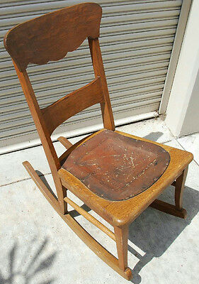 """31.5"""" Vintage Childrens Wood Rocking Chair With Leather Seat"""
