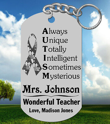 AUTISM TEACHER Keychain Personalized FREE with their Name, Special Gift!