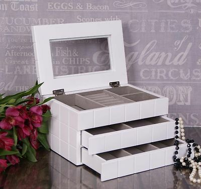 Extra Large White Wooden Jewellery Box Display Drawer mirror Gift #13
