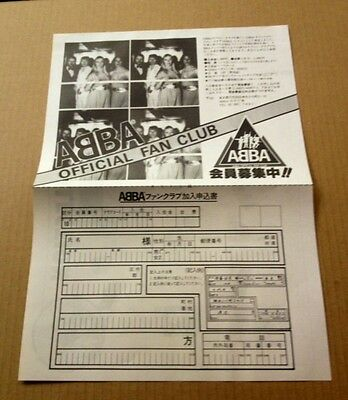 1980 Abba photo JAPAN magazine fan club application form / clipping RARE a02m