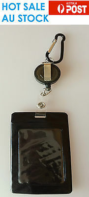 Hot Sale Black Business ID Card Opal Card Badge Holder with  Key Chain