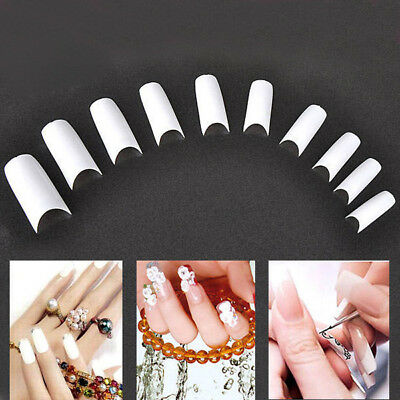 500 PCS White False Fake Acrylic UV Gel French Nail Art Tips Tools