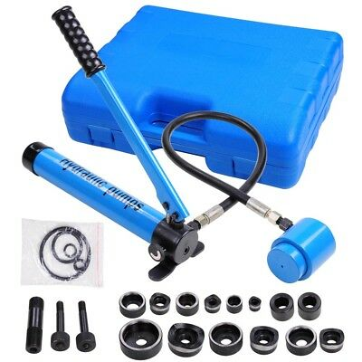 9 Ton 6 Dies Hydraulic Knockout Punch Driver Kit Hand Pump Hole Tool Free Case