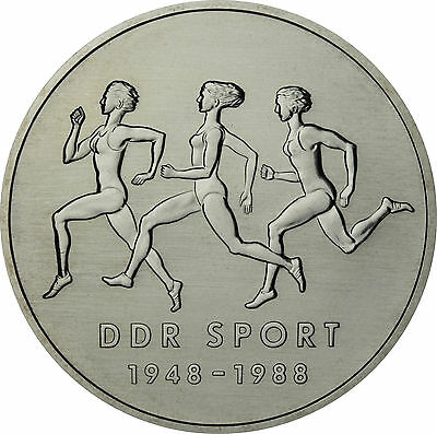 GDR 10 Mark 1988 uncirculated Sports Confederation in capsule